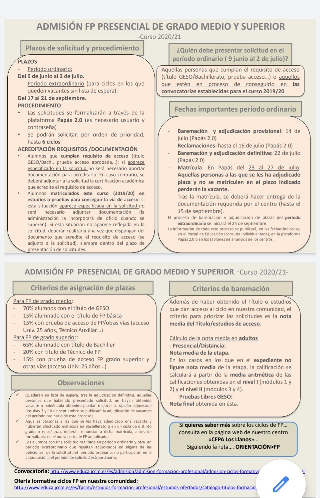 ADMISIÓN FP PRESENCIAL DE GRADO MEDIO Y SUPERIO